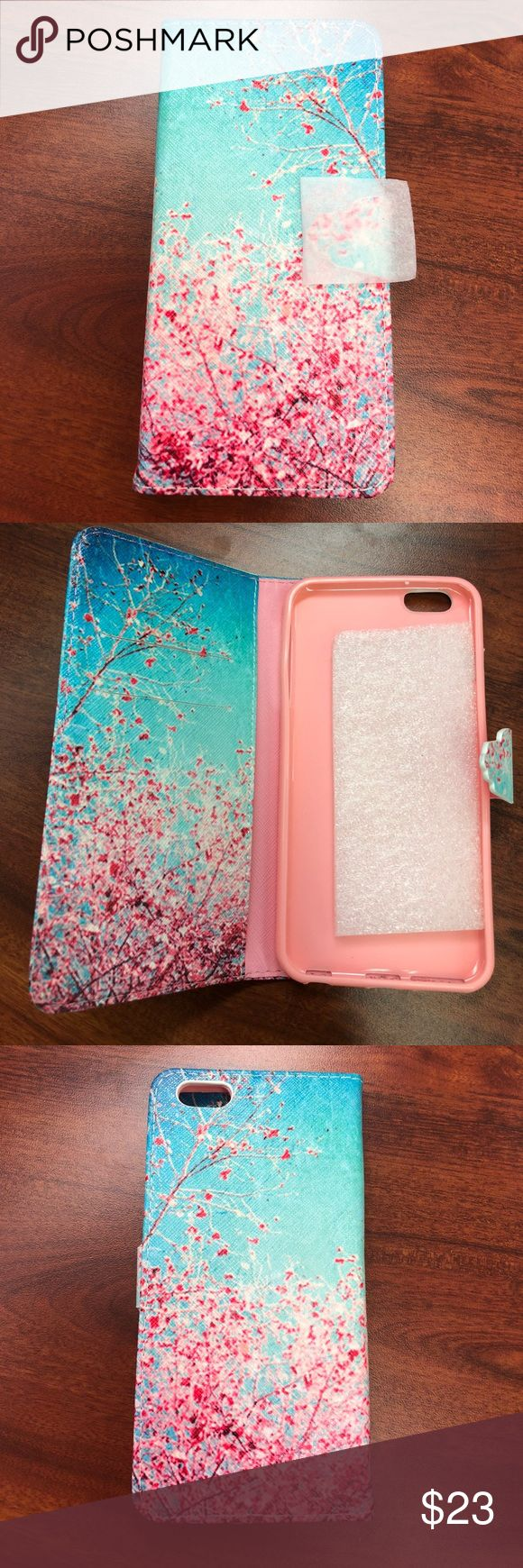 iPhone 6s/6 Plus Wallet Case w/ Screen Protector Light Blue color background with Cherry Blossom design. iPhone 6s/6 Plus Wallet Phone Case w/ screen protector. Brand New! I had the iPhone 6, not the plus so it did not fit. Super cute, just get it!!🌸🌺🌼 2 card slots plus a section for money or what not. Plus a package of Spigen iPhone 6s Plus Screen Protector. It's brand new, I believe there are multiple screen protectors inside but unsure as it doesn't state on the package. So essentially…