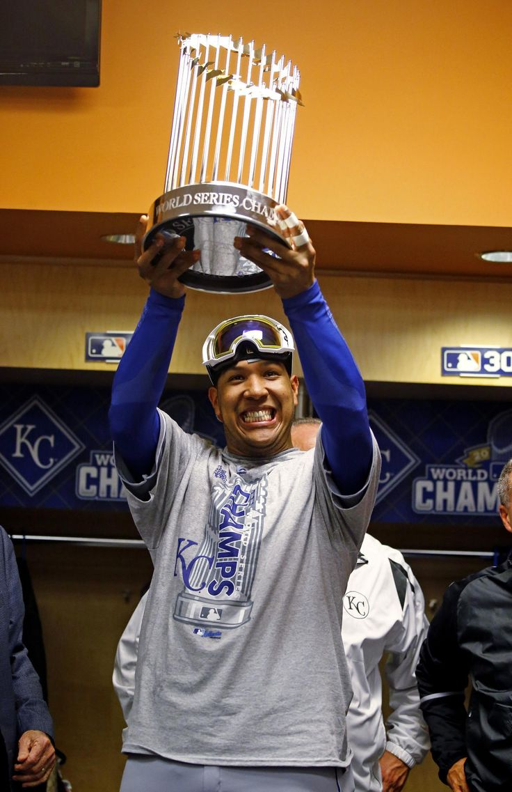 Salvador Perez earns World Series MVP - Kansas City Royals' Salvador Perez celebrates after Game 5 of the Major League Baseball World Series against the New York Mets Monday, Nov. 2, 2015, in New York. The Royals won 7-2 to win the series.