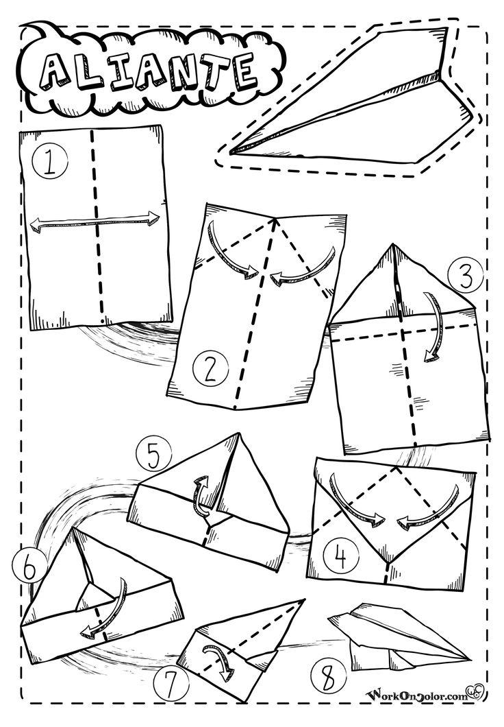 Paper Plane Origami model, ready to print - Cartamodello Aereo di carta stampabile su A4