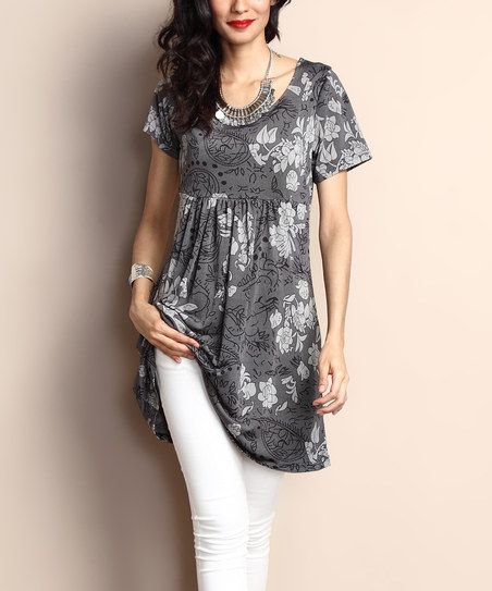 Reborn Collection Charcoal Floral Short-Sleeve Empire-Waist Tunic Dress | zulily