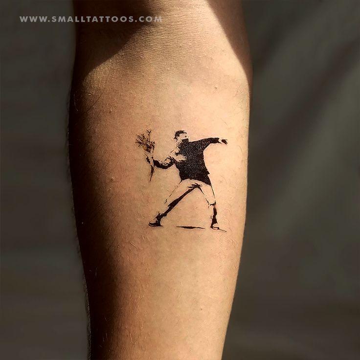 Banksys flower thrower temporary tattoo set of 2