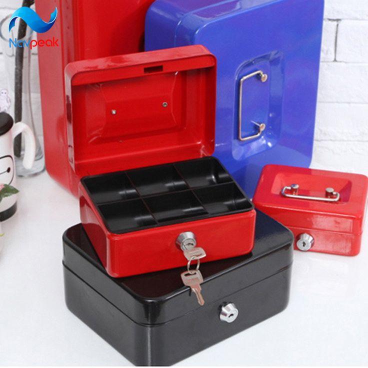 Navpeak 1pc Portable Storage Box Stainless Steel Lock metal safety deposit Key Bank S/M/L/XL/XXL with Key