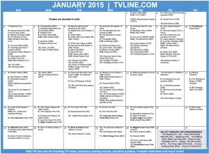 TV Calendar 2015 - A Round-Up of January dates, plus a glimpse at February (Remember: Once, S.H.I.E.L.D., The Following, Bones and a few others are not on until March) Finales are in bold. Save the Dates!