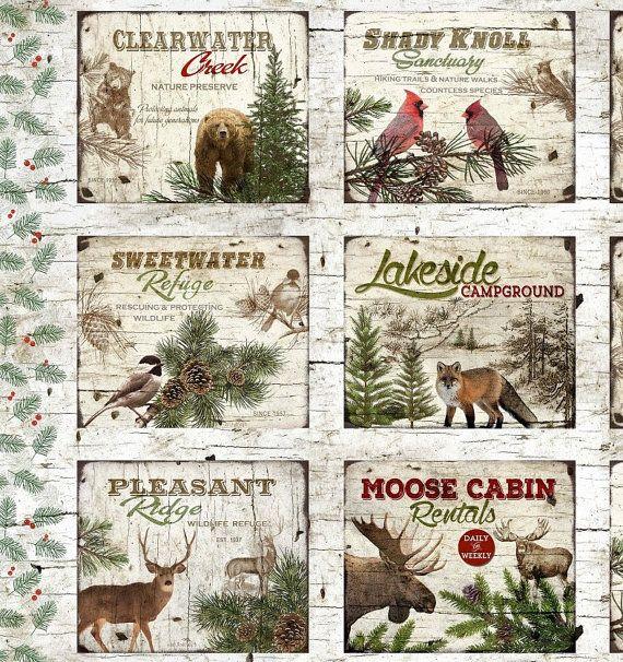 "Winter Scantuary Cardinal Bird House Henry Glass Christmas Fabric Panel 23/"""