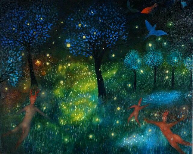 Eldflugornas natt oil on canvas