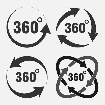 Angle 360 Degrees Rotation Outline Icon Stock Vector - Illustration of outline, illustration