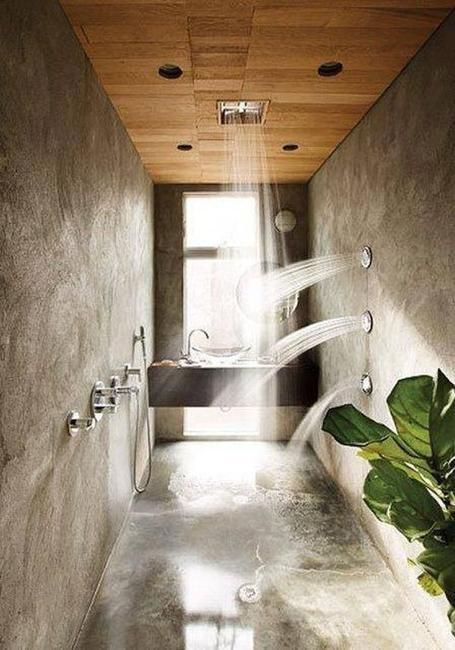 Custom shower design with concrete floor and walls, natural stone, wood, house plants and body jets