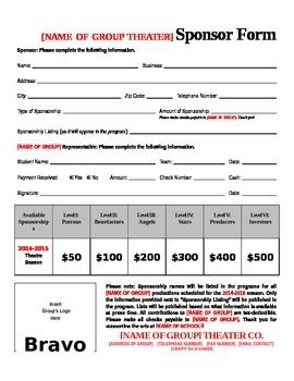 This is a great form used  for several years by our organization to secure theater season sponsors. Personalize your sponsorship form with your group's own logo; you can also adapt the level and pricing information to fit your booster club's needs. Use the form for student-led ad sales groups as well.