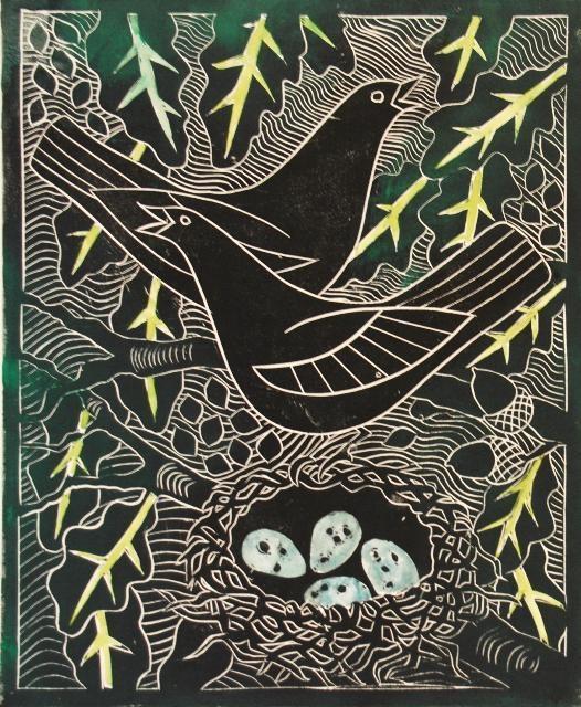 Celia Lewis - Blackbirds with nest - Linocut