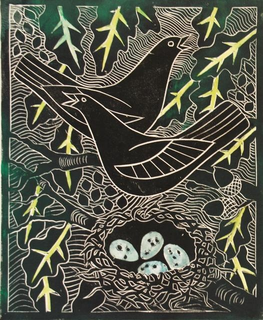 Celia Lewis - Blackbirds with nest - Linocut