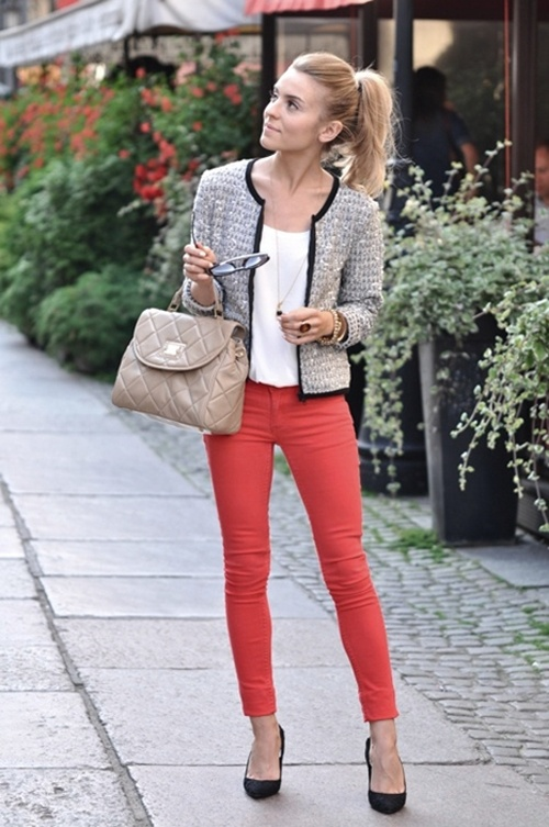 Tweed jacket and red jeans