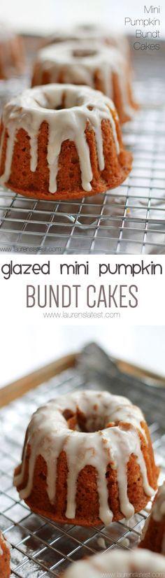 Glazed Mini Pumpkin Bundt Cakes - The cutest and tastiest things ever!