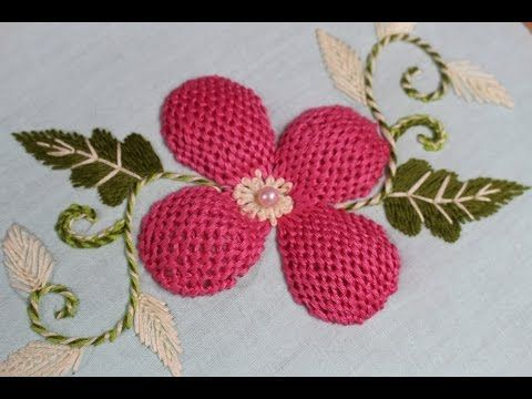 Hand embroidery designs. Beads padded lace stitch. Hand embroidery stitches tutorial. - YouTube