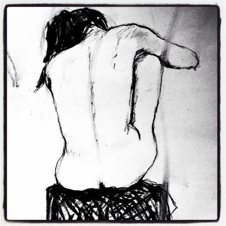 """Nu, croquis au crayon. Exercice """"main gauche"""". Nude, sketch, pencil."""