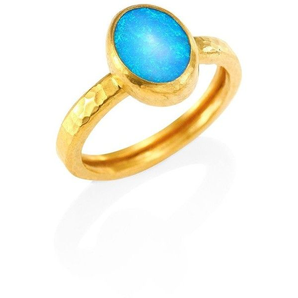 GURHAN Amulet Opal & 24K Gold Ring ($2,515) ❤ liked on Polyvore featuring jewelry, rings, apparel & accessories, blue, opal jewelry, 24k ring, blue opal jewelry, 24-karat gold jewelry and 24 karat gold ring