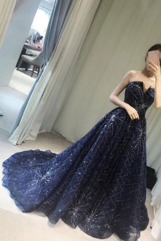 Unique V-neck Prom Dress,Elegant A-Line Prom Gown,Strapless Navy Blue Sparkly Long Prom Dresses,Long Evening Dress,Formal Dress,Sexy Prom Gowns
