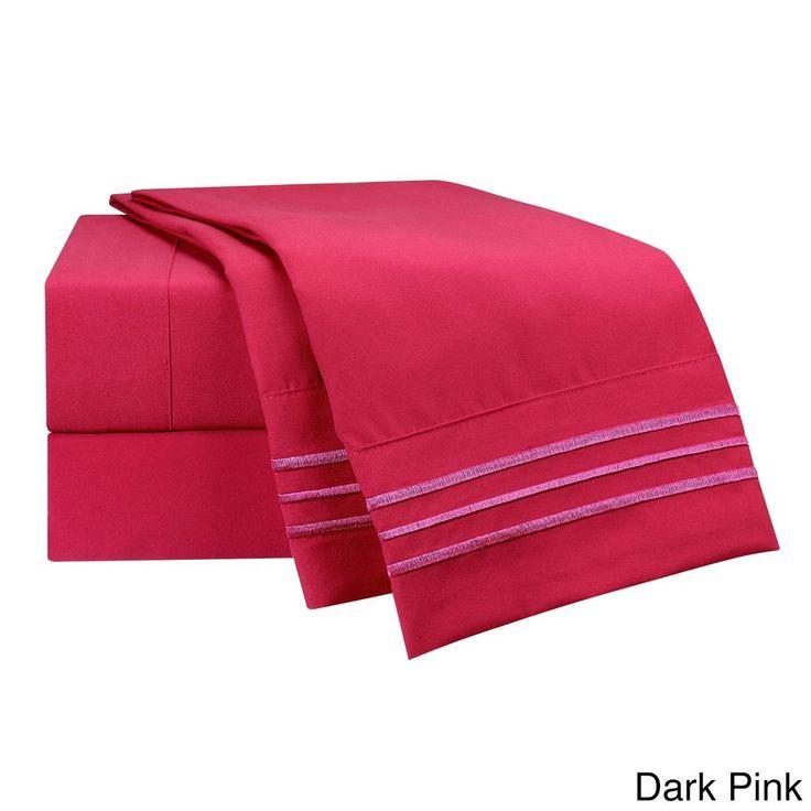 Twin Size Bed Sheet Solid Dark Pink 4-Piece Deep Pocket Bedding Set #SheetSet