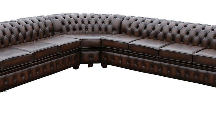 Chesterfield Corner Sofa Unit (with arm), Chesterfield Corner Sofa Unit 7 SeaterAntique Brown Leather Cushioned (with arm)