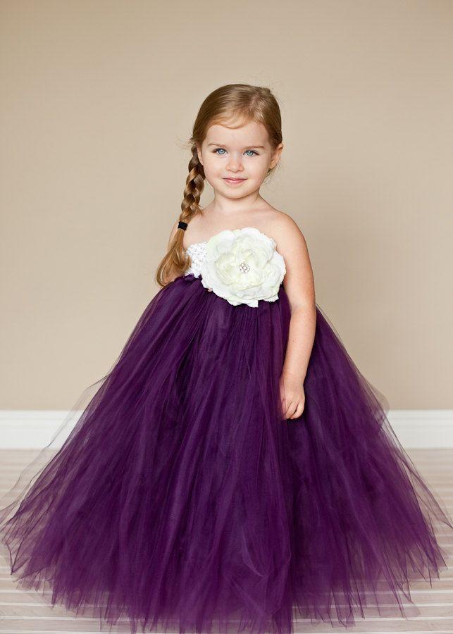 Plum Flower Girl Tutu Dress with Vintage Rose. $99.00, via Etsy.
