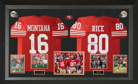Joe Montana & Jerry Rice Signed San Francisco 49ers Authentic Jerseys Display.