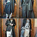 Mlle simonetta : robe chemise noire rundholz dip pantalon + tee shirt + écharpe + chaussures rundholz black label