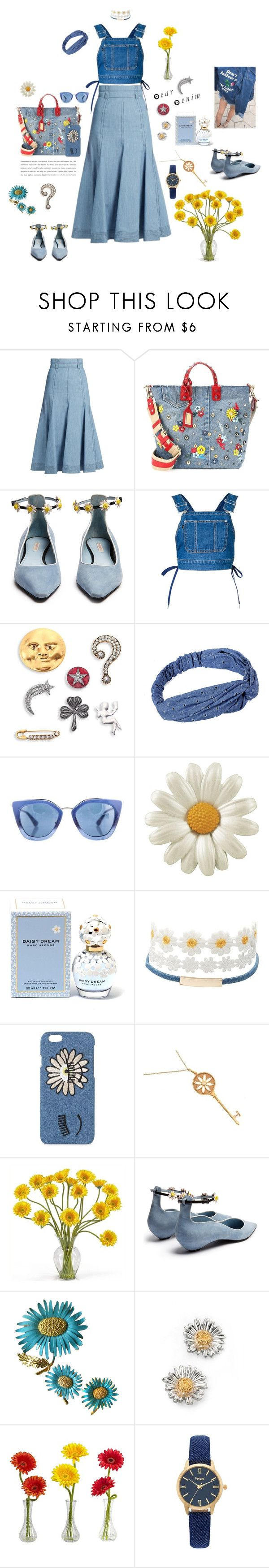 """""""Total denim for today"""" by mbarbosa ❤ liked on Polyvore featuring Gabriela Hearst, Dolce&Gabbana, Fabrizio Viti, G.V.G.V., Marc Jacobs, Prada, Charlotte Russe, Chiara Ferragni, Tiffany & Co. and Nearly Natural"""