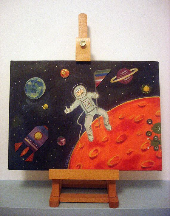 Fly me to the moon  boys room decor original by LaCameraFelice, $85.00