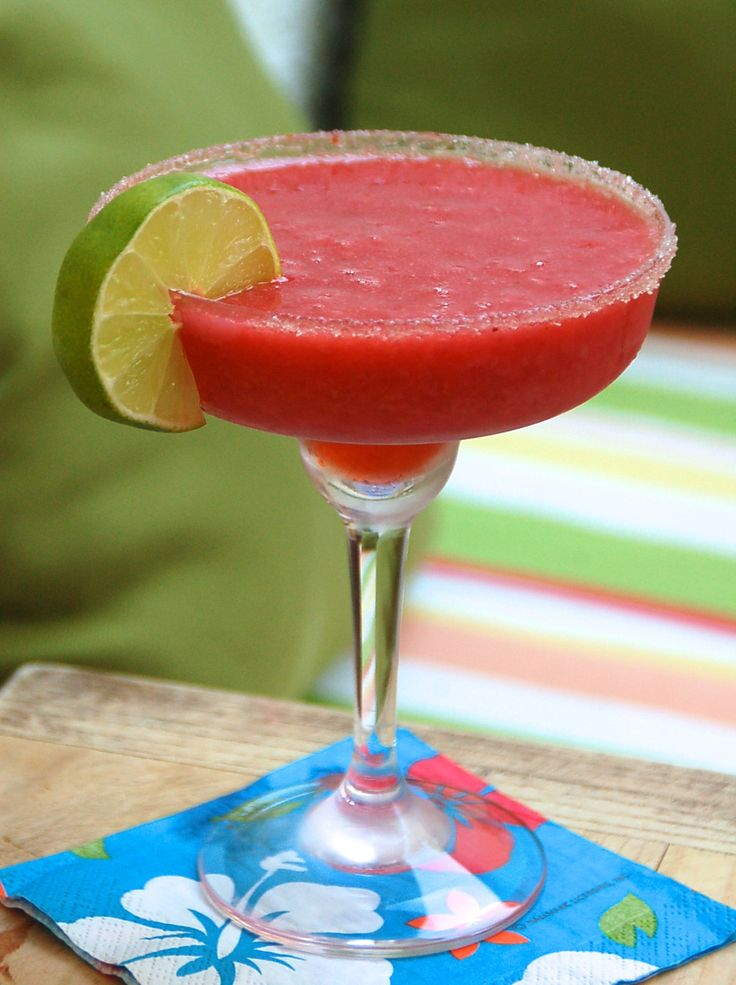 The Best Frozen Strawberry Margarita Cocktail Recipe @This Girl Walks Into A Bar