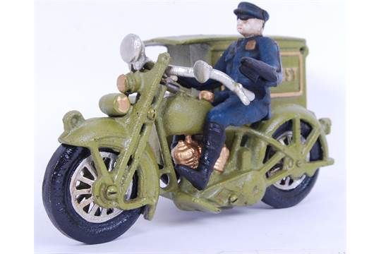 A vintage style 20th century cast iron motorcycle with post van sidecar and postman. Measures app