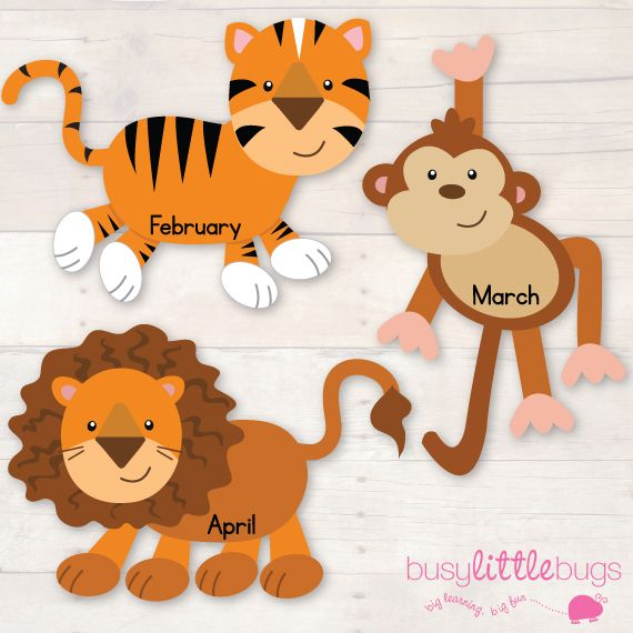 Jungle Animal Birthday Chart