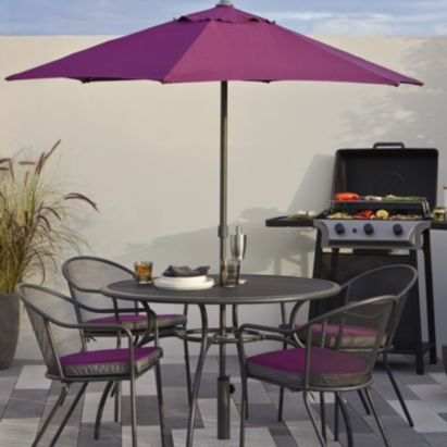 Coburg Purple Parasol   B Q for all your home and garden supplies and  advice on all the latest DIY trends. 8 best images about Garden furniture on Pinterest   Wooden dining