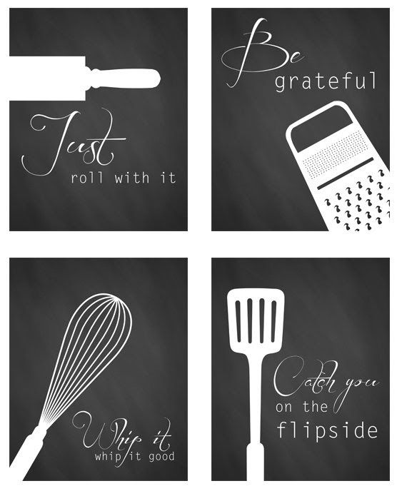 black and white kitchen art - Free printables