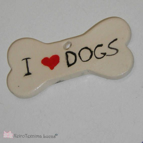I love dogs Handmade Ceramic Bone Tile 94cm Dog Bone Ornament