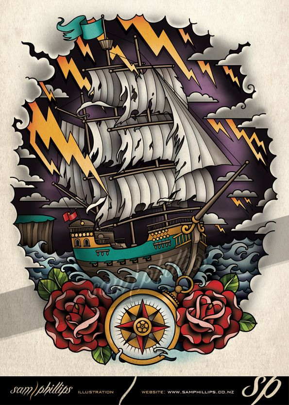 Sailboat on Stormy Seas Tattoo by Sam-Phillips-NZ on DeviantArt. www.samphillips.co.nz