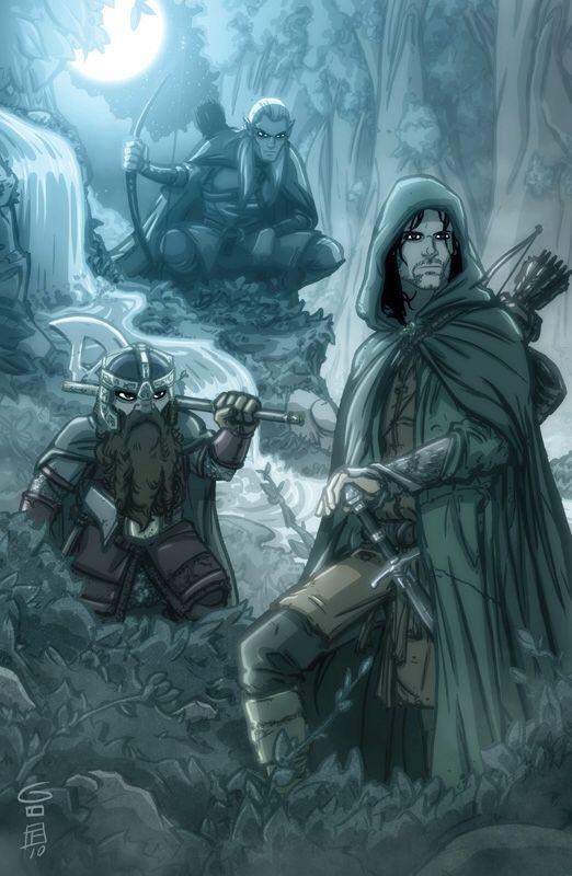 LOTR - Legolas, Gimli, & Aragorn on Night Watch