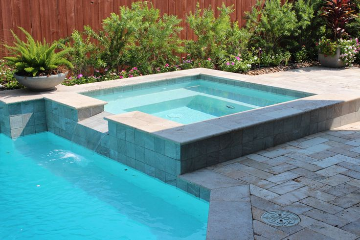 Swimming Pool Square Spa With Tile Spillover Travertine Deck With Travertine Pool Coping