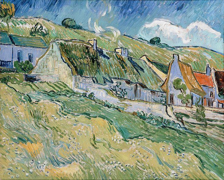 """""""Thatched Cottages"""", mayo de 1890. Durante sus últimos 70 días de vida (entre el 21 de mayo y el 29 de julio de 1890) Vincent van Gogh pintó más de un cuadro al día, además de numerosos dibujos."""
