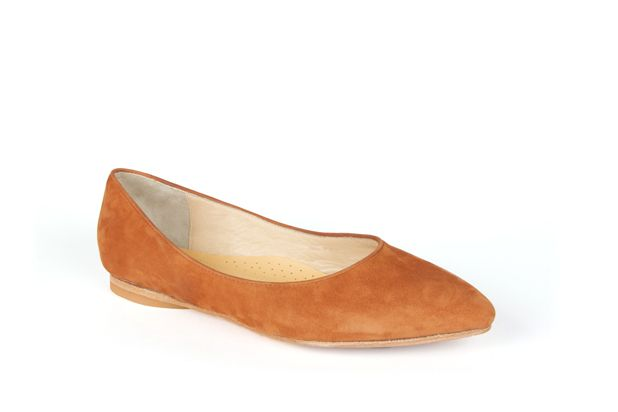 The Classic Point in Camel Suede by Poppy Barley Made to Measure. #Customize your leather colours and hardware. #Handcrafted to your measurements. #Flats #BalletFlats