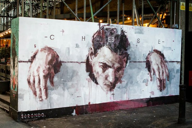 Painting one wall after another, Borondo has once again been busy in London where he just finished working on this strong new piece. 1