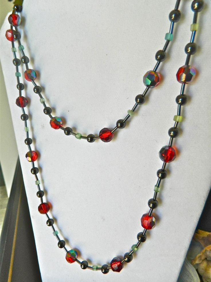 NOW SOLD. Long, double-strand Christmas Necklace  $40.00 with crystal beads Visit my Etsy Shop for this and more ~