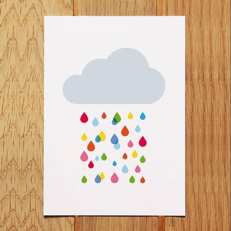 Multicoloured Rain Cloud Postcard
