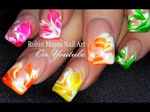 Rainbow No Water Marble | DIY Drag Marbling Nail Art Design Tutorial - YouTube