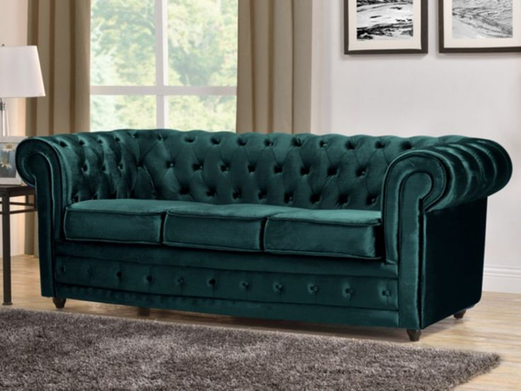 Sofa 3 plazas terciopelo azul verdoso CHESTERFIELD
