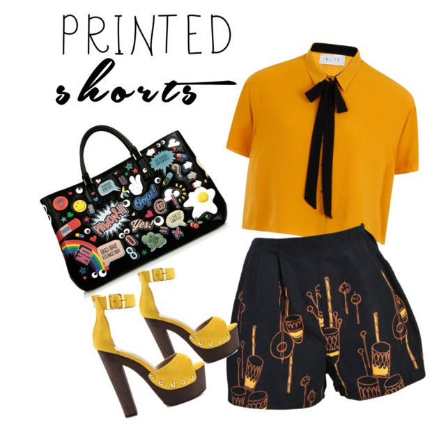 """Orange"" by amaliamatei on Polyvore featuring Elvi, Luichiny, Anya Hindmarch and printedshorts"