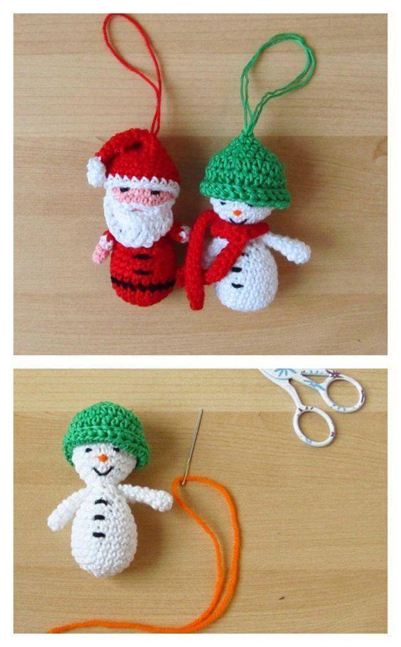 Crochet Amigurumi Santa & Snowman Christmas Ornaments Free Pattern