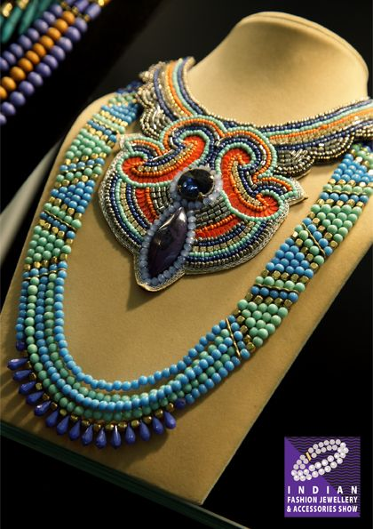 Beaded mosaics and patterns….in neck collars and neck adornments….at The IFJAS, 2016 #fashion #jewellery #tradeshow #ifjas