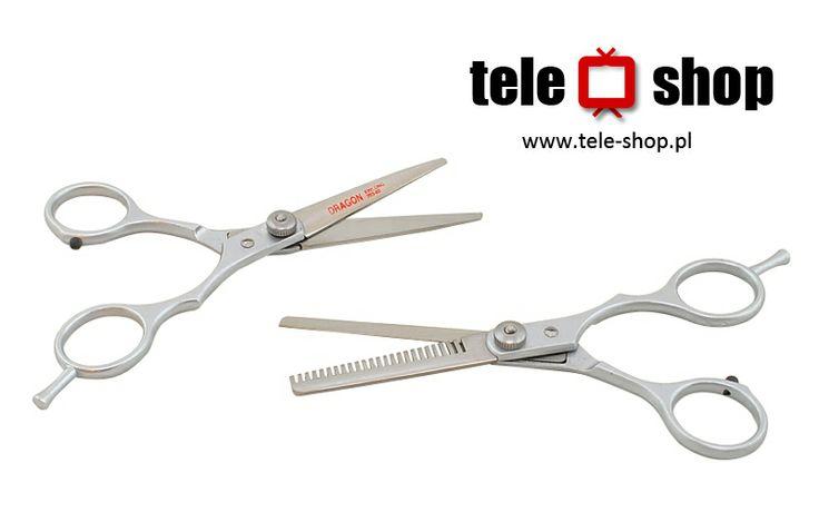 """http://tele-shop.pl/ NOŻYCZKI PROSTE I DEGAŻÓWKI. Profesjonalne nożyczki do cieniowania, jednostronne długość 5,75""""- 13,75 cm. Degażówki 19 ząbków z mikroszlifem zapewniają delikatne cięcie."""