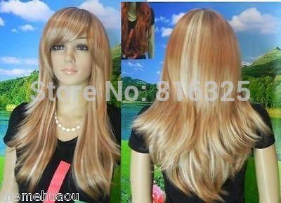 БЕСПЛАТНО P & P>>>>> Хэллоуин Горячей Красивый коричневый и светлый блондин смесь длинные жаропрочных полный парик
