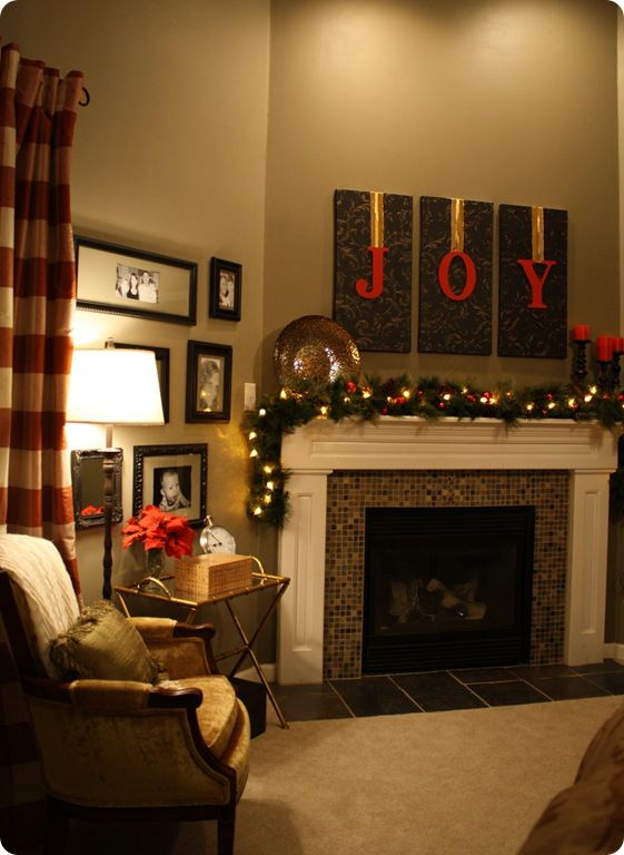 Joy christmas mantel holiday board pinterest for Living room 7 letters