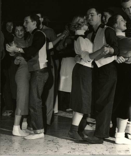 Teens at a sock hop, 1953